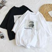 港風夏季新款個性印花短袖T恤男士正韓學生潮流寬鬆圓領半袖體恤
