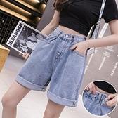 短褲牛仔褲闊腿褲S-XL時尚高腰牛仔褲女顯瘦休閒闊腿短褲熱褲非D11-2120.胖胖唯依