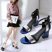 白色涼鞋女冬新款韓版學生露趾中粗跟百搭拼色一字扣帶高跟鞋      芊惠衣屋