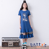 betty's貝蒂思 前印花紗網拼接洋裝(深藍)