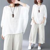 棉麻上衣180斤胖mm寬鬆加大碼女裝遮肚顯瘦洋氣蝙蝠袖棉麻夏季短袖T恤上衣 曼莎時尚