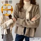 EASON SHOP(GQ2594)復古純色落肩寬鬆短版單排釦V領開衫長袖粗麻花毛衣針織衫外套女上衣服休閒外搭衫