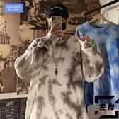 大碼毛衣男士秋冬季扎染寬鬆休閒加厚針織衫外套【左岸男裝】