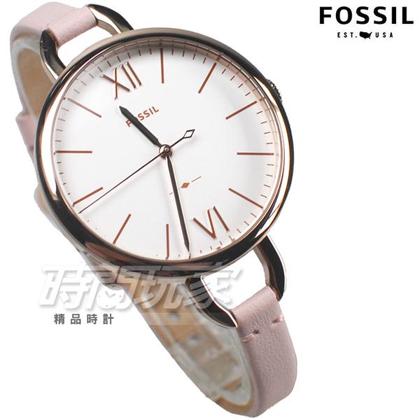 FOSSIL 羅馬情懷 韓妞必備 纖細皮帶 玫瑰金框x粉紅色 防水錶 圓錶 ES4356