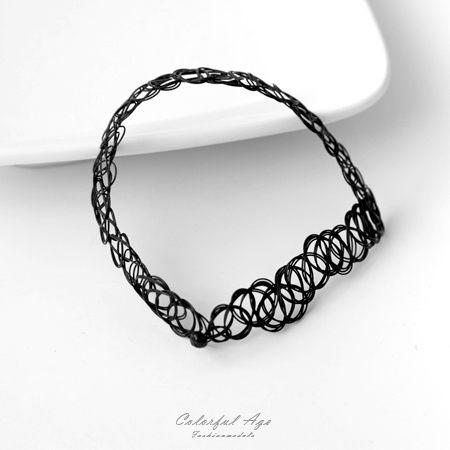 項鍊 歐美/日系仿刺青紋身魚線頸圈項鍊 彈性伸縮設計 黑色好搭 柒彩年代【NB704】個性風格