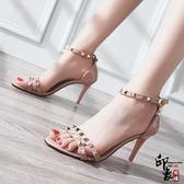 涼鞋女細跟小清新高跟鞋正韓露趾鉚釘一字扣chic仙女鞋