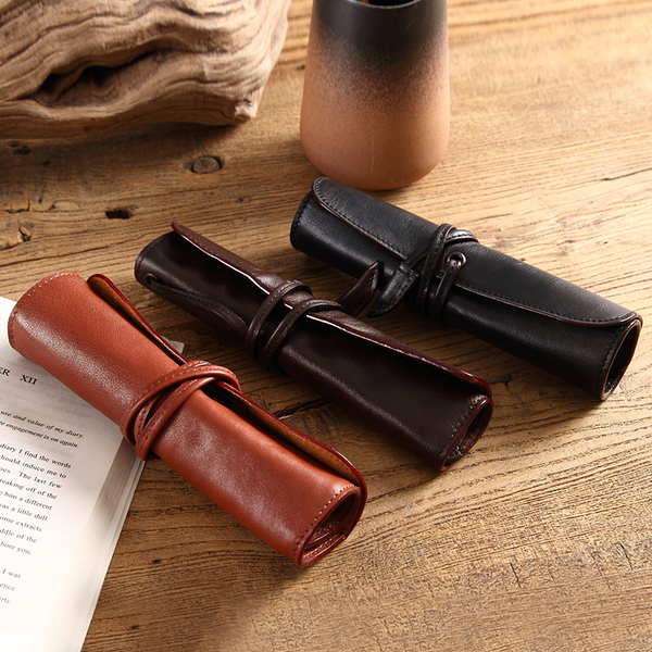 【Solomon 原創設計皮件】手作牛皮捲帶式筆袋 真皮鉛筆盒 粉刷袋