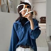 秋季2020新款韓版復古襯衫女假兩件拼接寬鬆長袖襯衣百搭洋氣上衣 【蜜斯蜜糖】