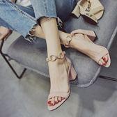館長推薦☛仙女的鞋復古夏高跟鞋中粗跟涼鞋女學生夏百搭