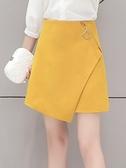 a字裙女2021春季新款黃色不規則半身裙a子裙百搭高腰短裙半裙春夏 韓國時尚 618