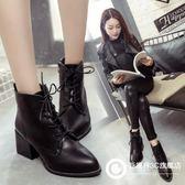 尖頭馬丁靴歐美粗跟女鞋防水臺女鞋系帶高跟鞋