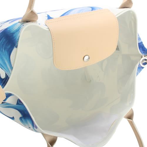 LONGCHAMP SPLASH系列水花圖紋長把大型水餃包(藍莓色)480530-807