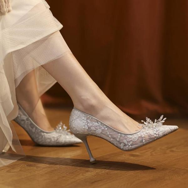 蕾絲鞋 網紗高跟鞋蕾絲春夏2021新款水晶婚鞋水鉆女新娘婚紗伴娘 格蘭小鋪