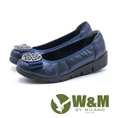 【南紡購物中心】W&M 古典美 行雲圓扣厚底娃娃鞋 女鞋-藍(另有黑)