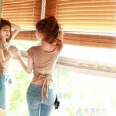 心機婊上衣短袖女夏新款韓版個性t恤女露背緊身性感女裝夜店花間公主
