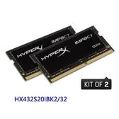 新風尚潮流 【HX432S20IBK2/32】 金士頓 筆記型記憶體 DDR4-3200 16GB x2 CL17
