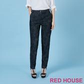 【RED HOUSE 蕾赫斯】豹紋修身長褲(黑色)