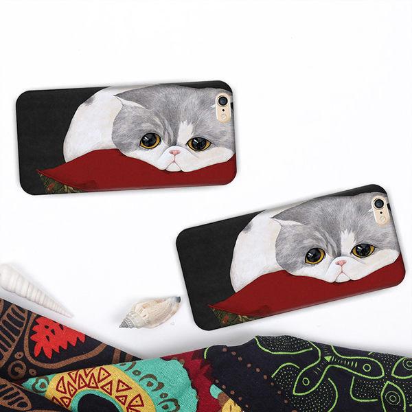 iPhone手機殼 經典限量款。可掛繩 無辜大眼貓咪 親膚軟殼 蘋果iPhone7/iPhone6 手機殼