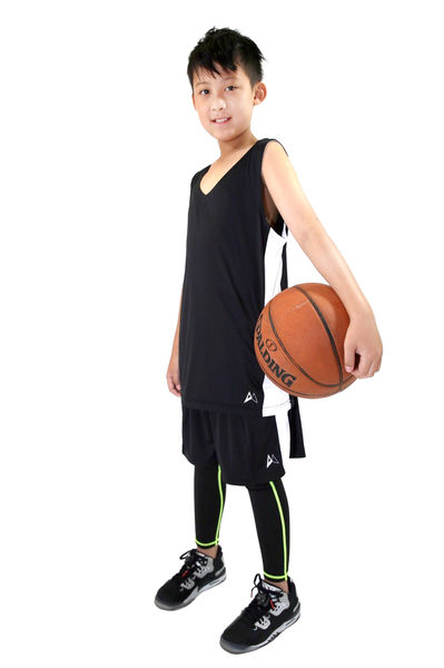 DMotion  吸排剪接籃球背心 黑/白 大童 台灣製