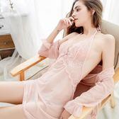 夏透明女蕾絲睡袍套裝睡裙薄紗吊帶性感睡衣火辣成人騷情趣內衣短   麥吉良品