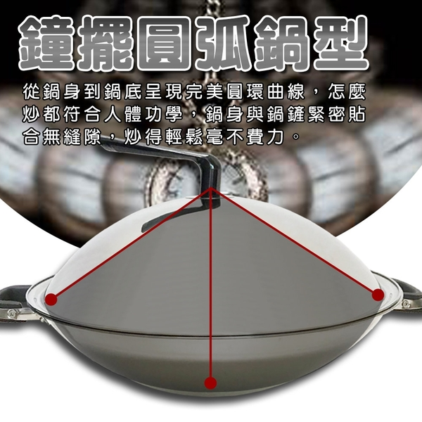 金德恩 台灣製造 304不鏽鋼無塗層雙握耳白鐵圓弧型大炒鍋40cm 附鍋蓋