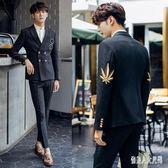 西裝套裝男雙排扣西裝男套裝韓版刺繡伴郎四季禮服 zm7382『俏美人大尺碼』