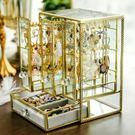 首飾盒 復古玻璃珠寶首飾盒項鏈架耳環耳釘掛架首飾收納收拾桌面整理架 1995生活雜貨
