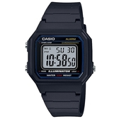 CASIO 方形機能性設計感電子錶-藍面(W-217H-1A)
