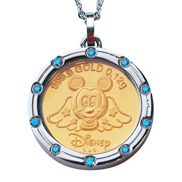 迪士尼系列金飾-黃金金幣項鍊-天使米奇款-D