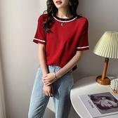 針織短袖上衣 年夏季新款針織日系衫短袖t恤女裝ins港風紅色t桖上衣潮1F143 依品國際