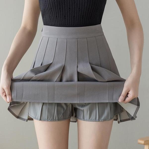 百褶裙 夏季灰色百褶裙半身裙子女裝夏裝2021年新款百搭高腰夏天a字短裙 夢藝家