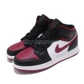 Nike Air Jordan 1 Mid GS Bred Toe 黑 紅 女鞋 大童鞋 紅頭 運動鞋 籃球鞋 【PUMP306】 554725-066