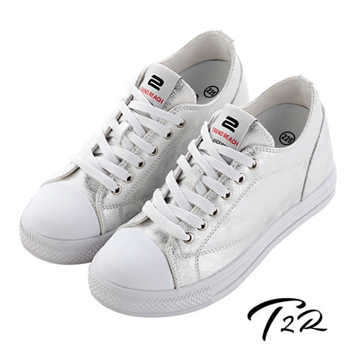 【韓國T2R】時尚高質感隱形增高帆布鞋 ↑7cm 銀(5600-0253)