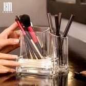 kaman化妝刷收納筒桌面收納盒名片整理盒透明化妝刷眉筆粉刷筆筒