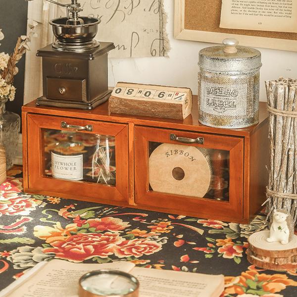 【BlueCat】雙抽屜 復古仿舊收納實木櫃 木架 木盒 收納櫃 置物架 展示架 櫃子