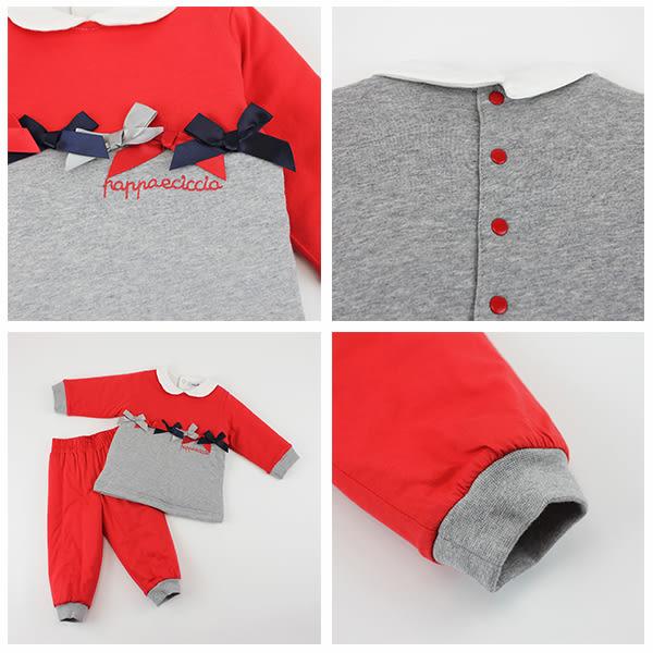 【愛的世界】鋪棉蝴蝶結套裝/6個月~2歲-台灣製- ★秋冬套裝