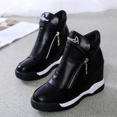 水桶包秋冬內增高高幫鞋坡跟加絨厚底休閒運動鞋側拉鏈黑色短靴 芊墨左岸
