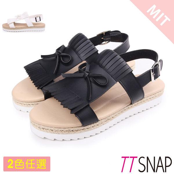 涼鞋-TTSNAP 休閒流蘇雙層厚底涼鞋 黑/白/銀/咖