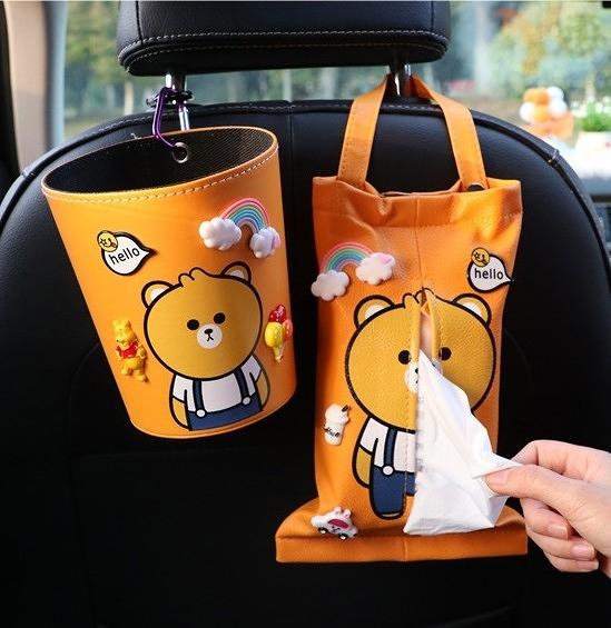 汽車紙巾掛袋車載抽紙盒掛式可愛玩偶車用包車內車上裝飾【白嶼家居】