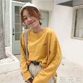 chic字母印花長袖上衣女學生韓版寬鬆顯瘦圓領t恤潮   至簡元素