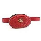 【奢華時尚】GUCCI Marmont 紅色W紋牛皮胸口包腰包(九五成新)#24227