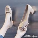 高跟女鞋子新款2020春季春秋春款百搭粗跟低跟中跟淺口單鞋小皮鞋 范思蓮恩