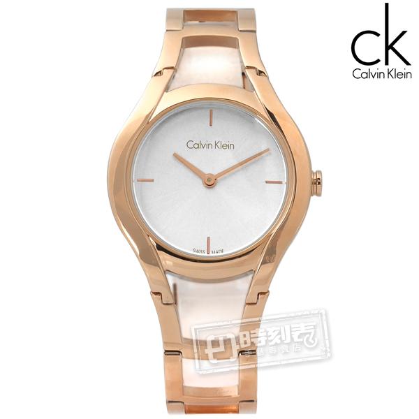 CK / K6R23626 / Stately當代優雅精緻不鏽鋼手錶 銀x鍍玫瑰金 32mm