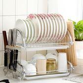 碗架瀝水架304不銹鋼廚房置物架2雙層碗筷收納架濾水晾洗放碗碟架 QQ25034『東京衣社』
