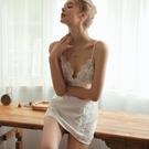 睡裙 水溶浮花性感睡衣女夏季誘惑冰絲吊帶睡裙薄款蕾絲短裙家居服私房-Ballet朵朵