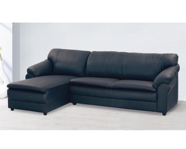 沙發【YUDA】台灣製造 金沙 黑色 半黃牛皮 獨立筒 坐左 L型沙發 沙發 K9F 37-4