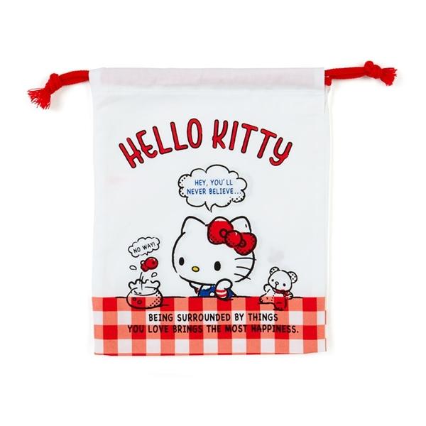 小禮堂 Hello Kitty 日製 棉質束口袋 牙刷杯袋 小物袋 縮口袋 16x19cm (紅白 格紋) 4550337-73392