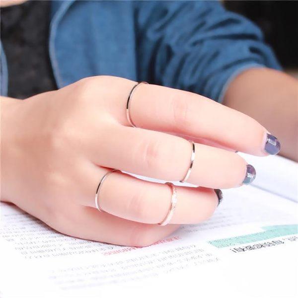 韓版18k玫瑰金簡約戒指女細款小指學生食指尾戒鈦鋼關節指環網紅 喵小姐