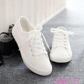 小白鞋環球文藝小白鞋女2021新款春季韓版學生百搭帆布鞋平底女鞋白布鞋 JUST M