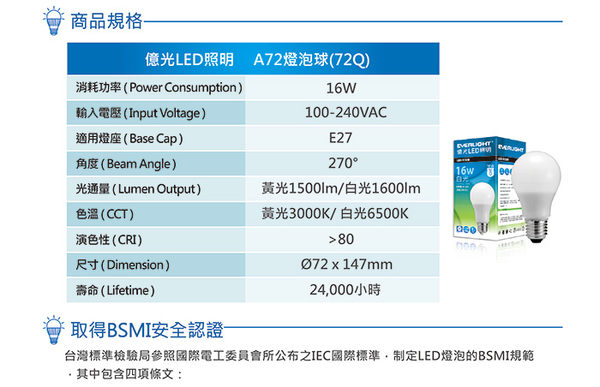億光LED 16W 全電壓 E27燈泡 PLUS升級版 白/黃光4入